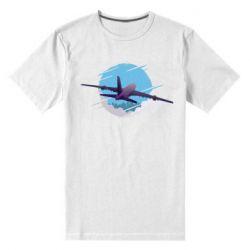 Мужская стрейчевая футболка Airplane and sky