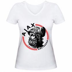 Жіноча футболка з V-подібним вирізом Ajax лого
