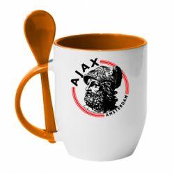 Кружка з керамічною ложкою Ajax лого