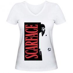 Купить Женская футболка с V-образным вырезом Al Pacino aka Tony Montana, FatLine