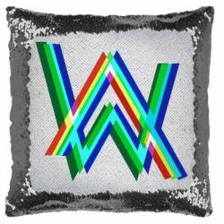 Подушка-хамелеон Alan Walker multicolored logo