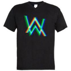 Чоловіча футболка з V-подібним вирізом Alan Walker multicolored logo