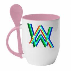 Кружка з керамічною ложкою Alan Walker multicolored logo