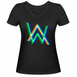Жіноча футболка з V-подібним вирізом Alan Walker multicolored logo