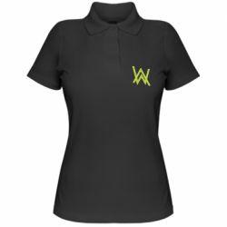 Женская футболка поло Alan Walker neon logo