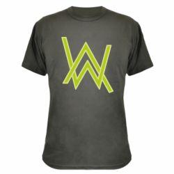 Камуфляжная футболка Alan Walker neon logo