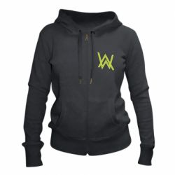 Женская толстовка на молнии Alan Walker neon logo