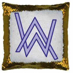 Подушка-хамелеон Alan Walker neon logo
