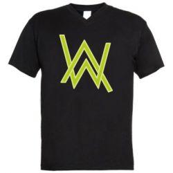 Мужская футболка  с V-образным вырезом Alan Walker neon logo