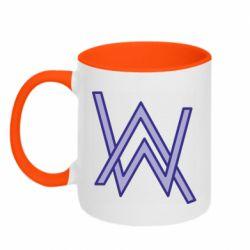 Кружка двухцветная 320ml Alan Walker neon logo