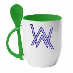 Кружка с керамической ложкой Alan Walker neon logo
