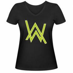 Женская футболка с V-образным вырезом Alan Walker neon logo