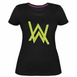 Женская стрейчевая футболка Alan Walker neon logo