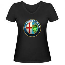 Женская футболка с V-образным вырезом ALFA ROMEO - FatLine