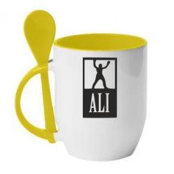 Кружка с керамической ложкой Ali - FatLine