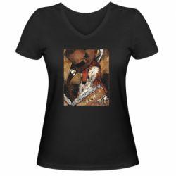 Жіноча футболка з V-подібним вирізом Alice fox in top hat