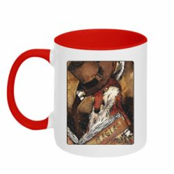 Кружка двоколірна 320ml Alice fox in top hat