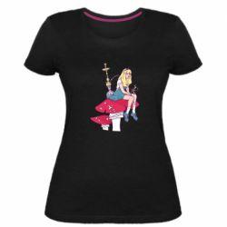 Женская стрейчевая футболка Alice smokes a hookah