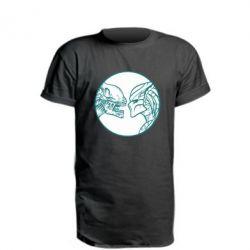Удлиненная футболка Alien and Predator