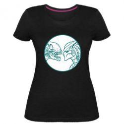 Женская стрейчевая футболка Alien and Predator