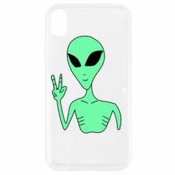Чехол для iPhone XR Alien and two fingers