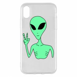 Чехол для iPhone X/Xs Alien and two fingers
