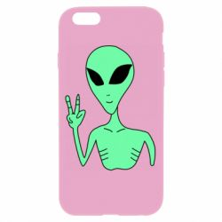 Чехол для iPhone 6/6S Alien and two fingers
