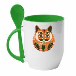 Кружка с керамической ложкой Alien Cat