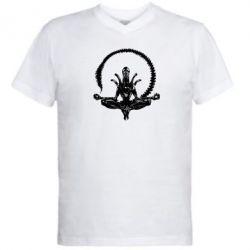 Мужская футболка  с V-образным вырезом Alien Yoga - FatLine