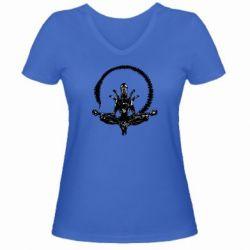 Женская футболка с V-образным вырезом Alien Yoga - FatLine