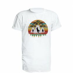 Удлиненная футболка Aliens and dinosaur