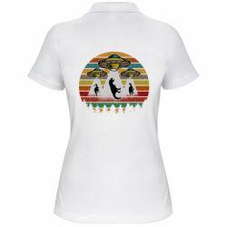 Женская футболка поло Aliens and dinosaur