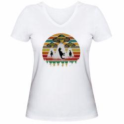 Женская футболка с V-образным вырезом Aliens and dinosaur