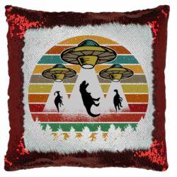 Подушка-хамелеон Aliens and dinosaur