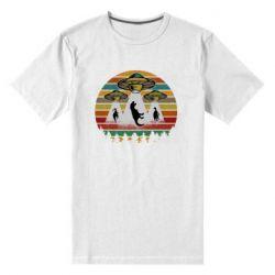Мужская стрейчевая футболка Aliens and dinosaur
