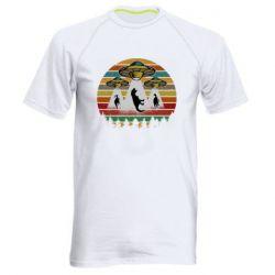 Мужская спортивная футболка Aliens and dinosaur