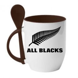 Кружка с керамической ложкой All Blacks