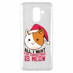 Чехол для Samsung A6+ 2018 All i want for christmas is meow