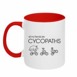 Кружка двоколірна 320ml All my friends are cycopaths
