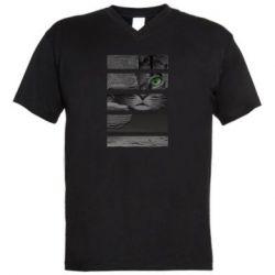 Мужская футболка  с V-образным вырезом All seeing cat