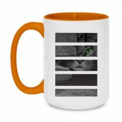Кружка двухцветная 420ml All seeing cat