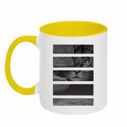Кружка двухцветная 320ml All seeing cat