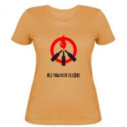 Женская футболка All you need is love (Коктейль Молотова) - FatLine