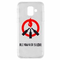 Майдан, Чехол для Samsung A6 2018 All you need is love (Коктейль Молотова), FatLine  - купить со скидкой