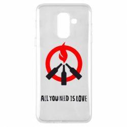 Купить Майдан, Чехол для Samsung A6+ 2018 All you need is love (Коктейль Молотова), FatLine