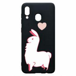 Чохол для Samsung A20 Alpaca with a heart