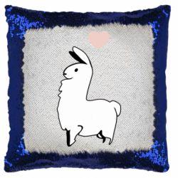 Подушка-хамелеон Alpaca with a heart
