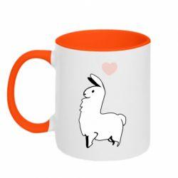 Кружка двоколірна 320ml Alpaca with a heart
