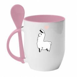 Кружка з керамічною ложкою Alpaca with a heart
