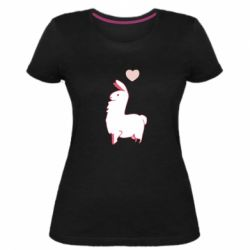 Жіноча стрейчева футболка Alpaca with a heart